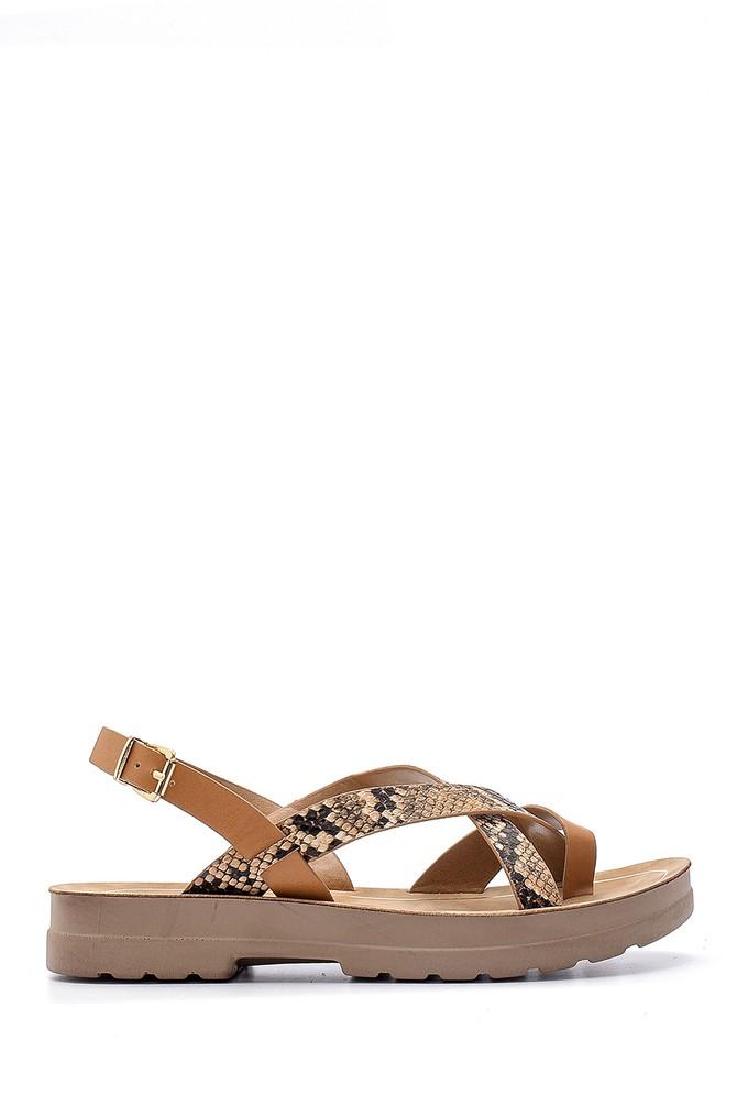 Kahverengi Kadın Yılan Derisi Desenli Sandalet 5638132490