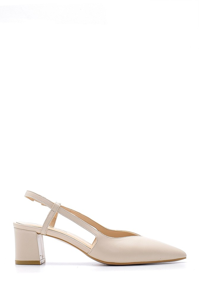 Bej Kadın Deri Topuklu Ayakkabı 5638163225
