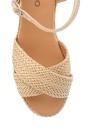 5638137070 Kadın Hasır Detaylı Sandalet