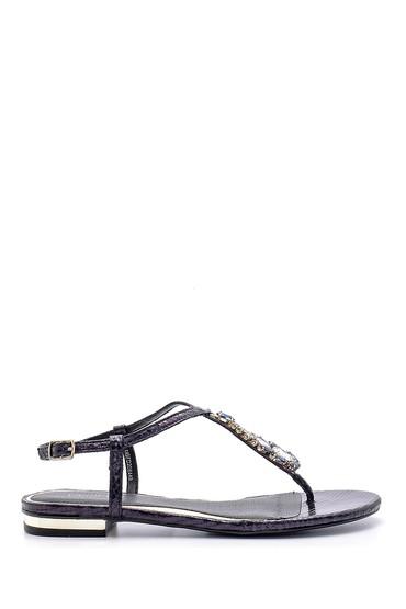 Lacivert Kadın Taşlı Sandalet 5638125473