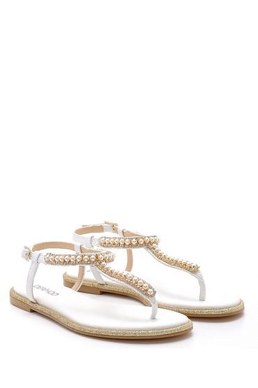 Beyaz Kadın İnci Detaylı Sandalet 5638125492