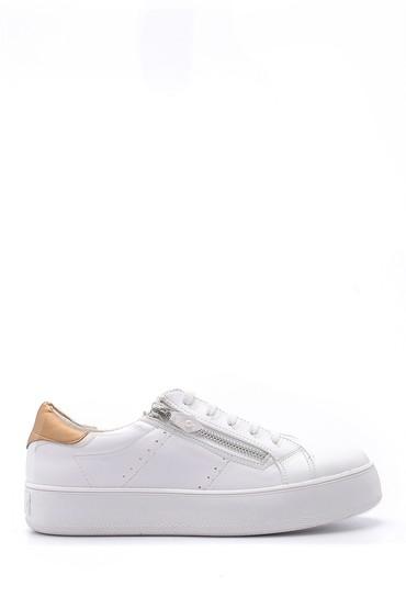 Beyaz Kadın Fermuar Detaylı Sneaker 5638121646