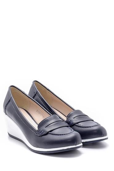 Lacivert Kadın Dolgu Topuklu Ayakkabı 5638121657