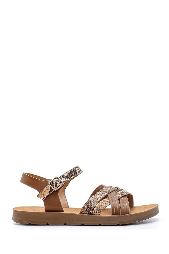 Kahverengi Kadın Yılan Derisi Desenli Sandalet 5638132427