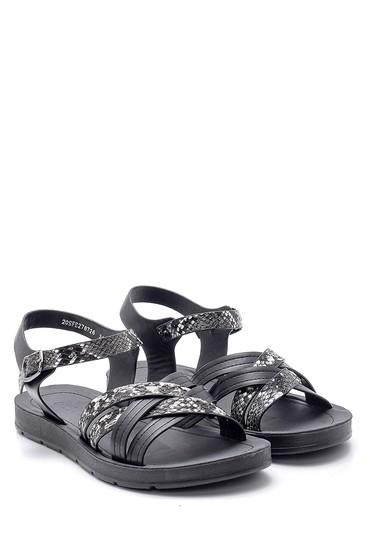 Siyah Kadın Yılan Derisi Desenli Sandalet 5638132429