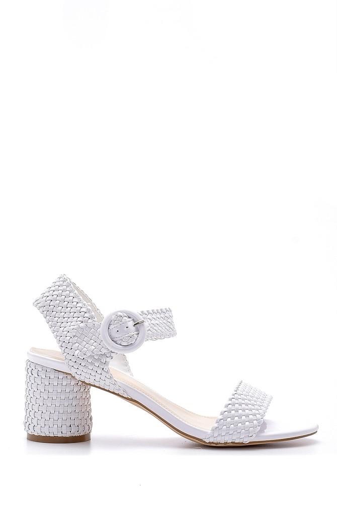 Beyaz Kadın Topuklu Sandalet 5638128921
