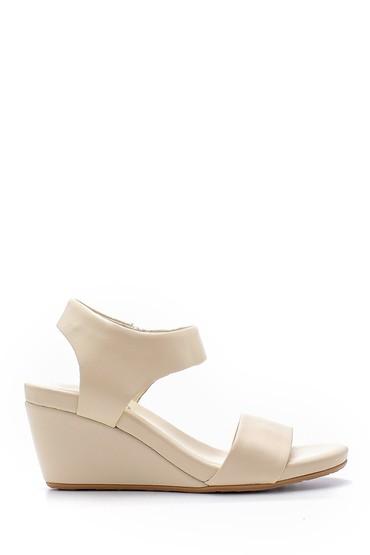 Bej Kadın Deri Dolgu Topuklu Sandalet 5638153322