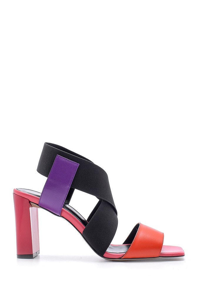 Multi Renk Kadın Deri Kalın Topuklu Sandalet 5638161514