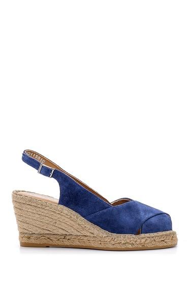 Lacivert Kadın Süet Dolgu Topuklu Ayakkabı 5638162185