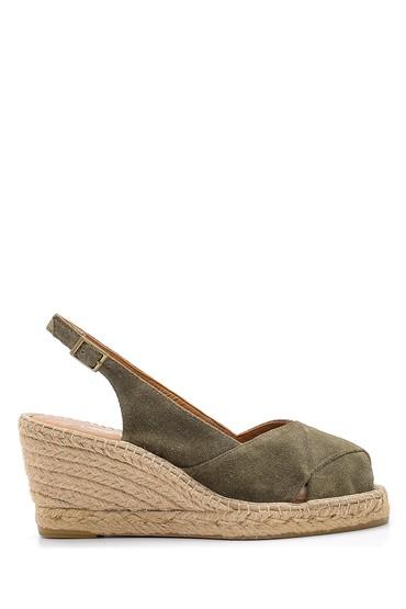 Yeşil Kadın Süet Dolgu Topuklu Ayakkabı 5638162187