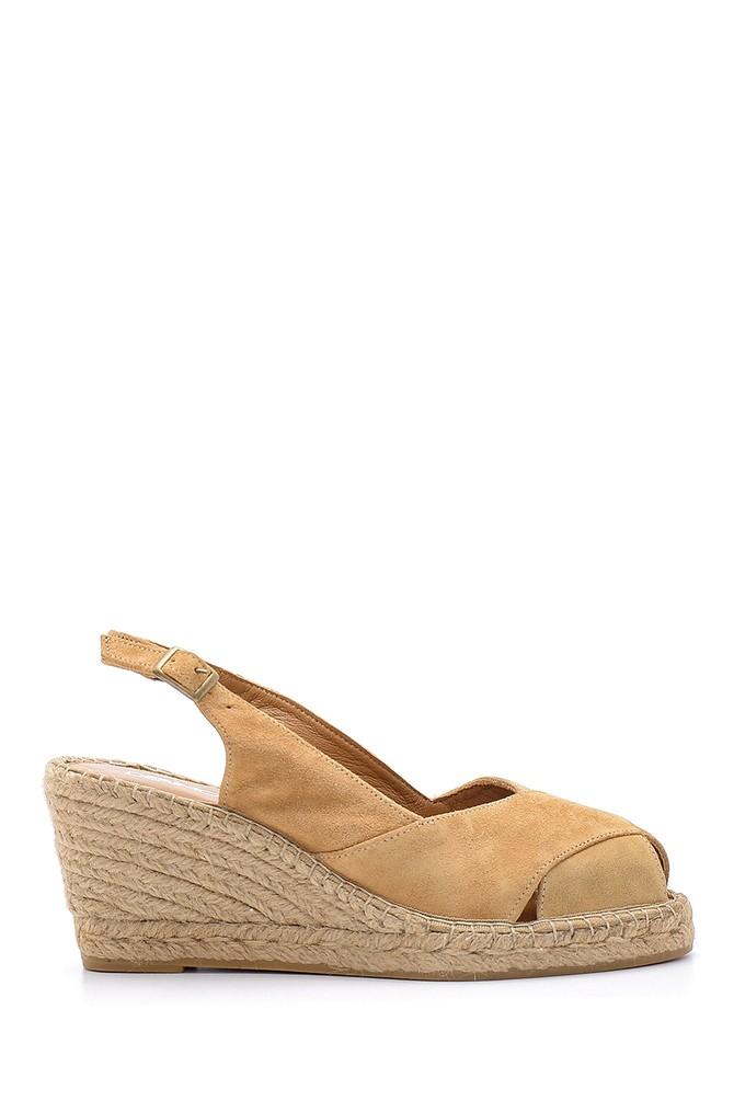 Kahverengi Kadın Süet Dolgu Topuklu Ayakkabı 5638162189
