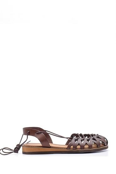 Kahverengi Kadın Deri İp Detaylı Sandalet 5638168023