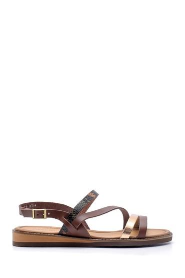 Kahverengi Kadın Deri Sandalet 5638168053