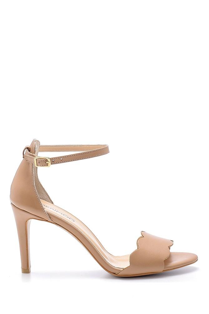 Pembe Kadın Deri Topuklu Sandalet 5638162551