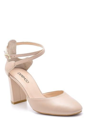 Bej Kadın Deri Topuklu Ayakkabı 5638163318