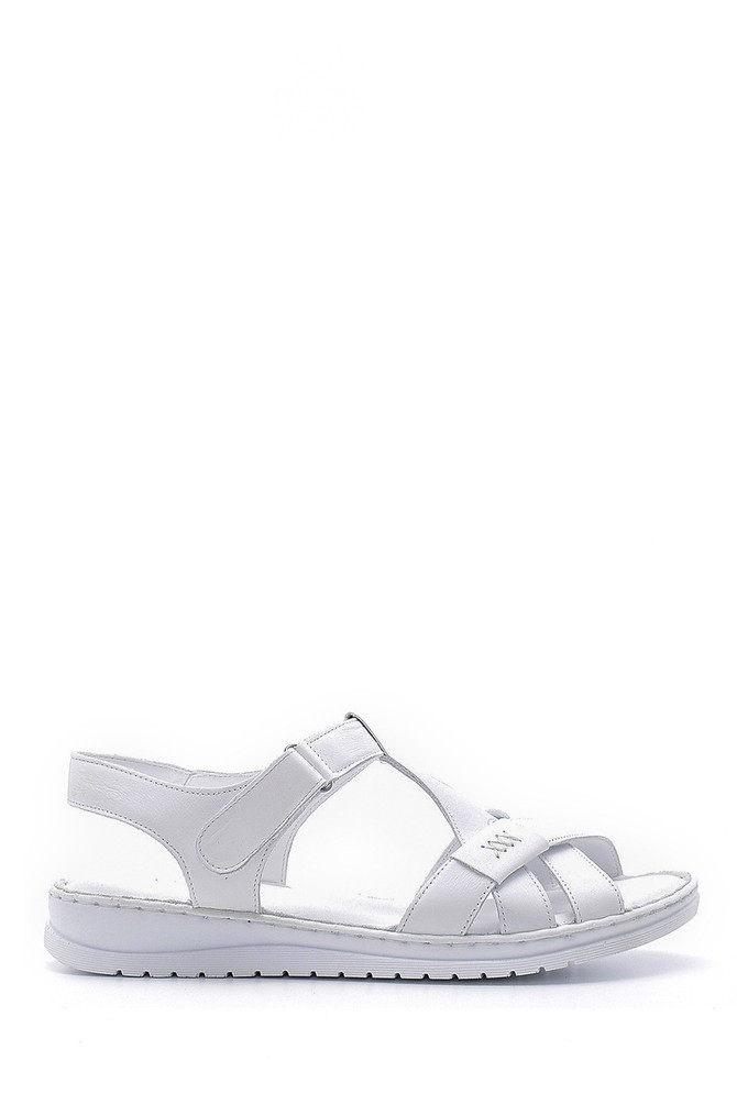 Beyaz Kadın Deri Sandalet 5638162256