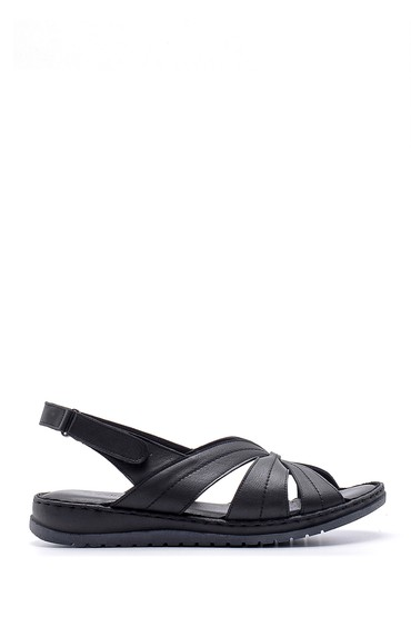 Siyah Kadın Deri Sandalet 5638162275