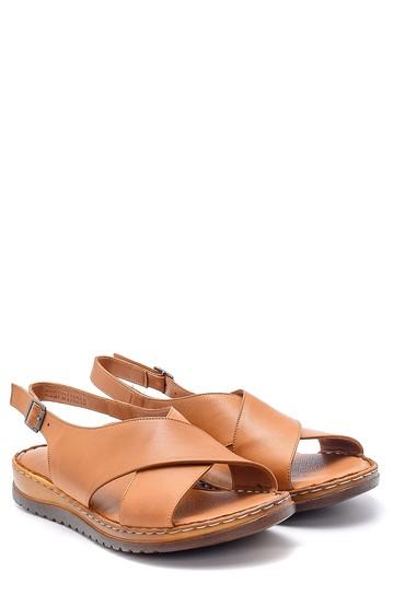 Kahverengi Kadın Deri Sandalet 5638162279