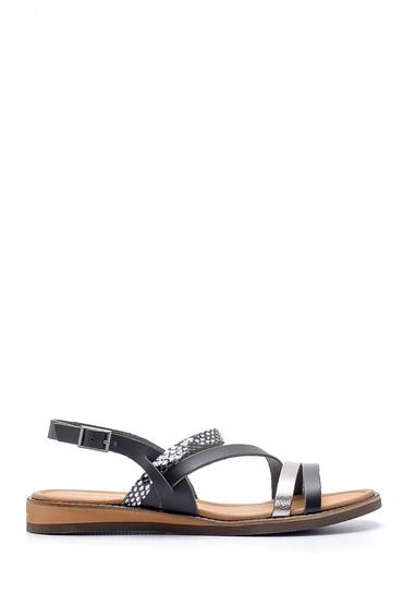 Siyah Kadın Deri Sandalet 5638176380