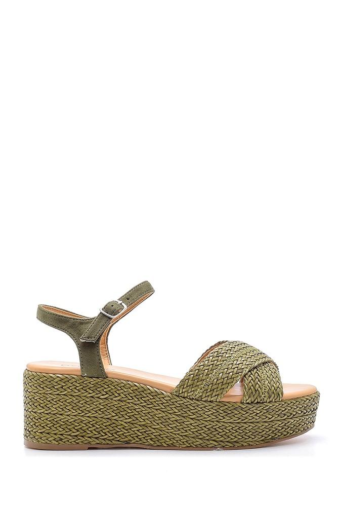 Yeşil Kadın Hasır Detaylı Sandalet 5638192025