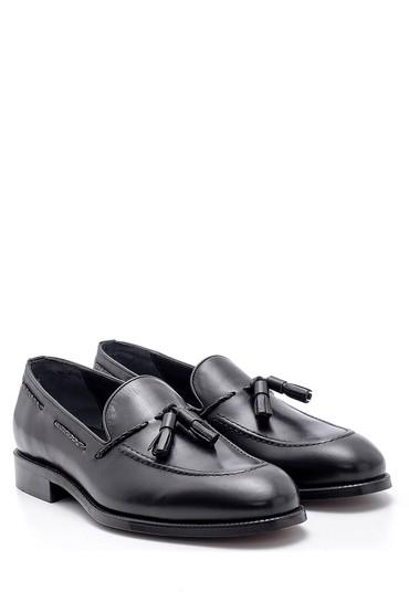 Siyah Erkek Deri Püskül Detaylı Loafer 5638155652