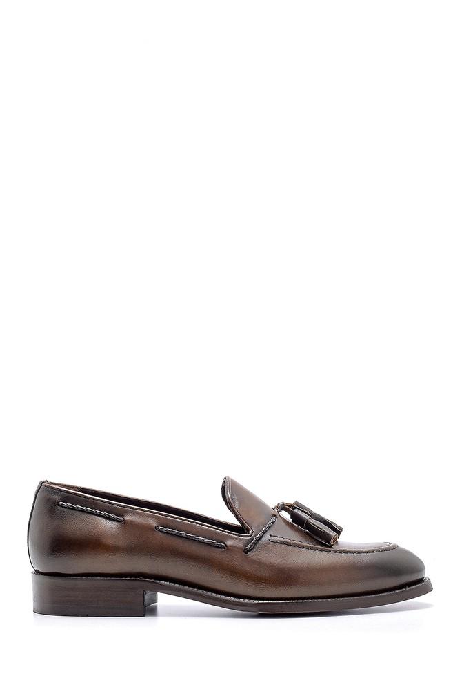 Kahverengi Erkek Deri Püskül Detaylı Loafer 5638155650