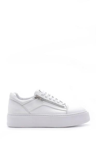 Beyaz Erkek Deri Fermuar Detaylı Sneaker 5638158032