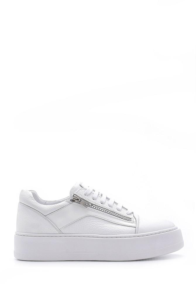 Beyaz Erkek Deri Fermuar Detaylı Sneaker 5638158048