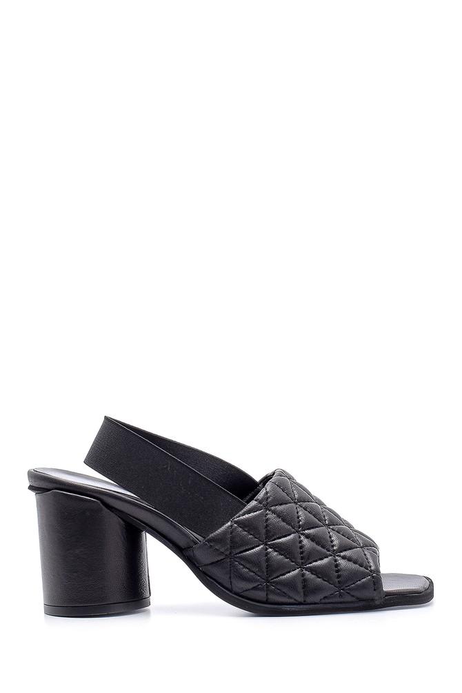 Siyah Kadın Deri Kalın Topuklu Sandalet 5638161133