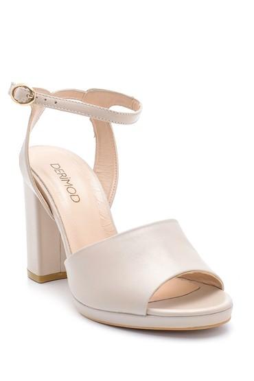Gri Kadın Deri Kalın Topuklu Ayakkabı 5638162454