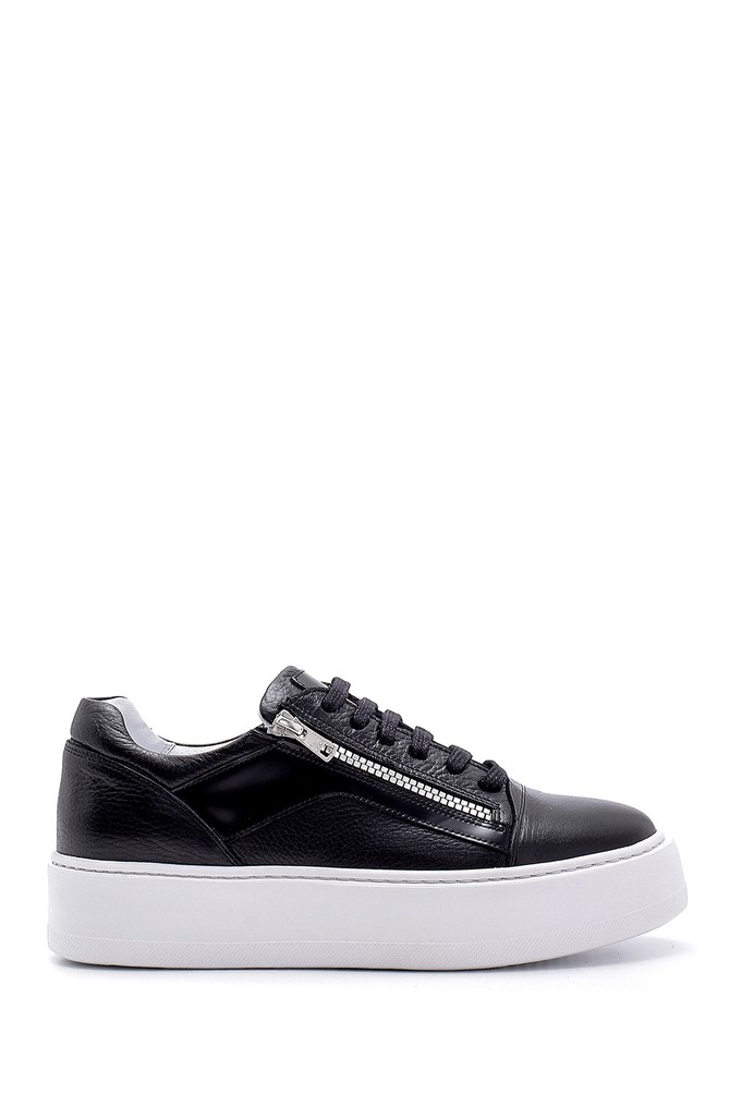 Siyah Erkek Deri Fermuar Detaylı Sneaker 5638158030
