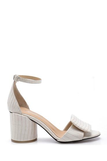 Beyaz Kadın Deri Kalın Topuklu Sandalet 5638161111