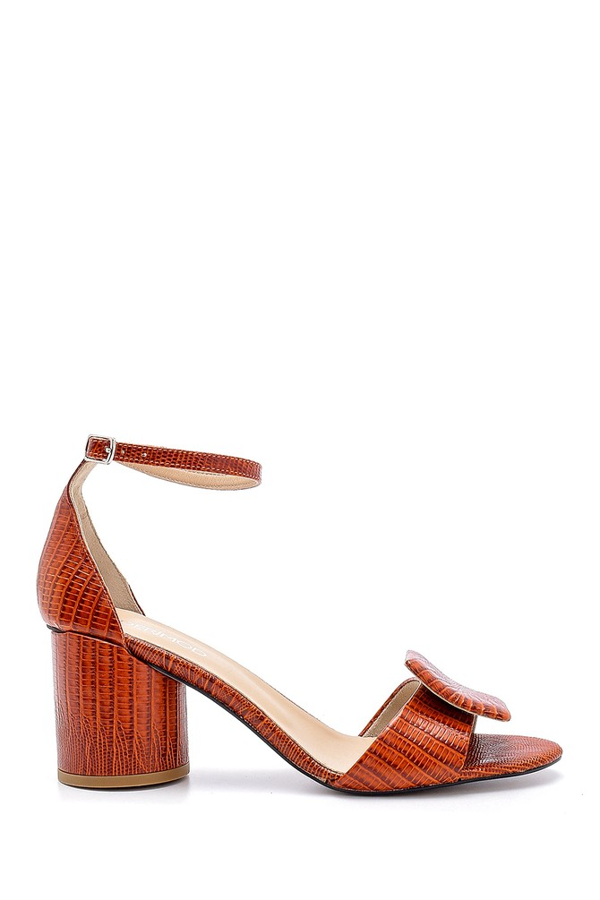 Turuncu Kadın Deri Kalın Topuklu Sandalet 5638161127