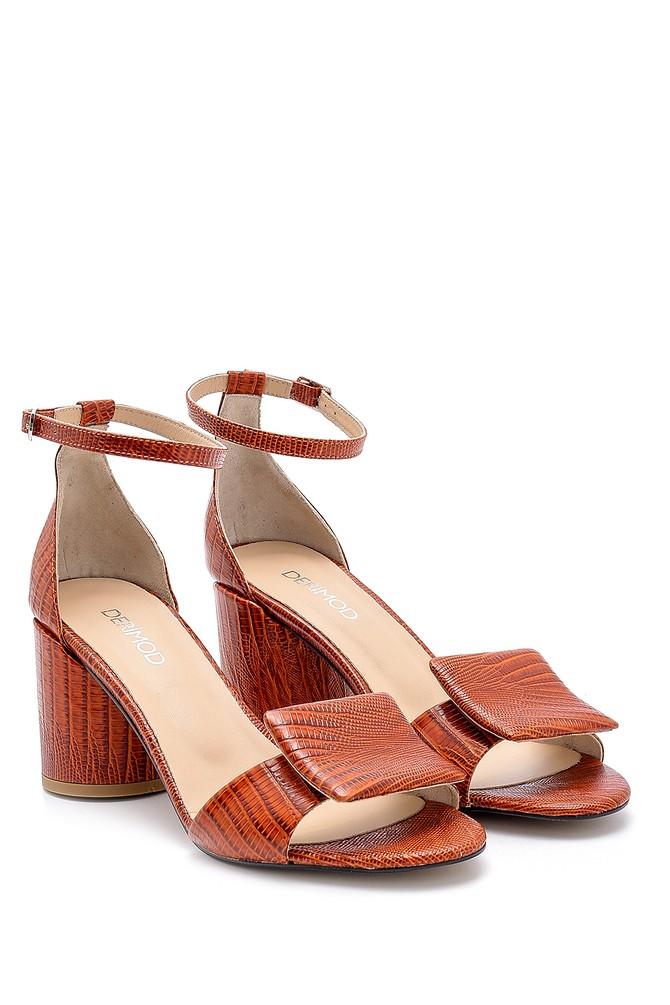 5638161127 Kadın Deri Kalın Topuklu Sandalet