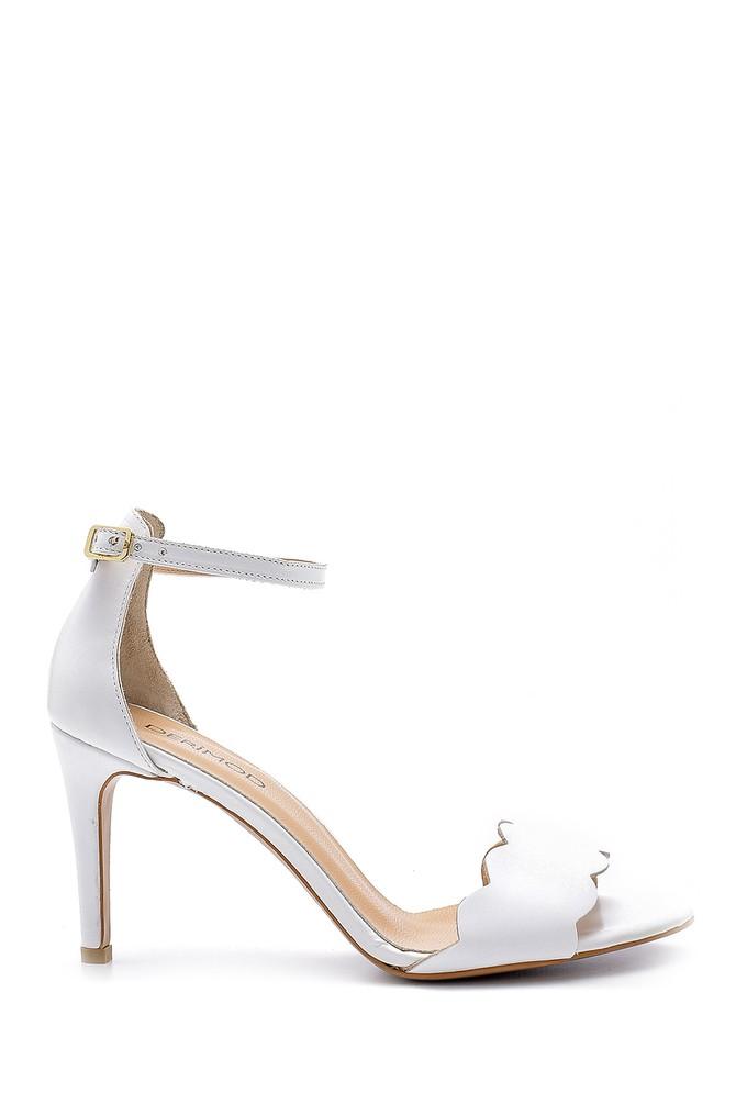 Beyaz Kadın Deri Topuklu Sandalet 5638162559