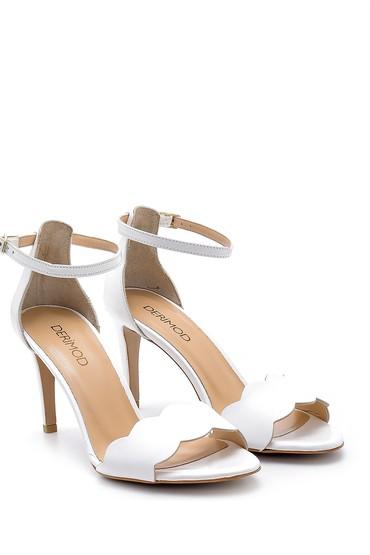 Beyaz Kadın Deri Topuklu Sandalet 5638162541