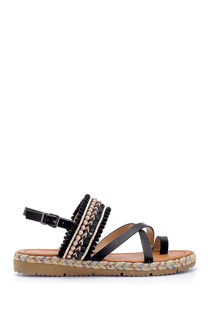 Siyah Kadın İşlemeli Sandalet 5638126077