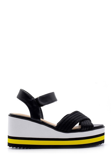 Siyah Kadın Dolgu Topuklu Sandalet 5638128788