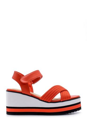 Kırmızı Kadın Dolgu Topuklu Sandalet 5638128790