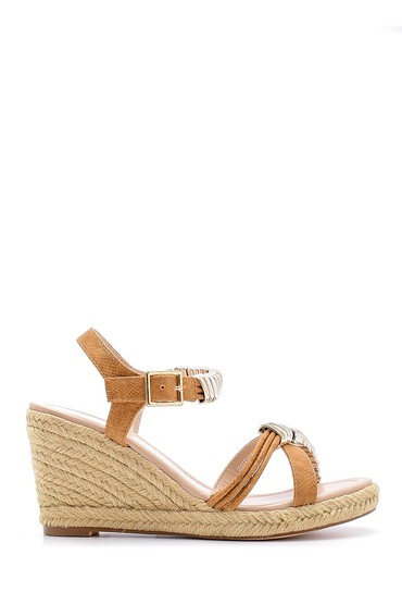 Kahverengi Kadın Dolgu Topuklu Sandalet 5638128870