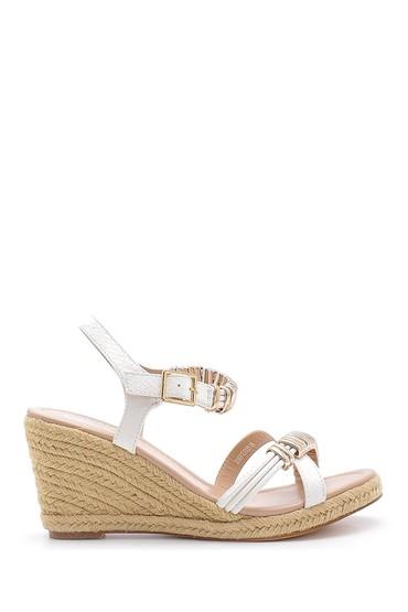 Beyaz Kadın Dolgu Topuklu Sandalet 5638128871