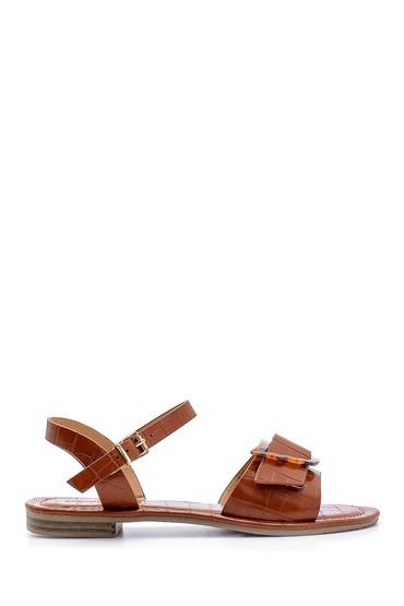 Kahverengi Kadın Kroko Desenli Sandalet 5638132386