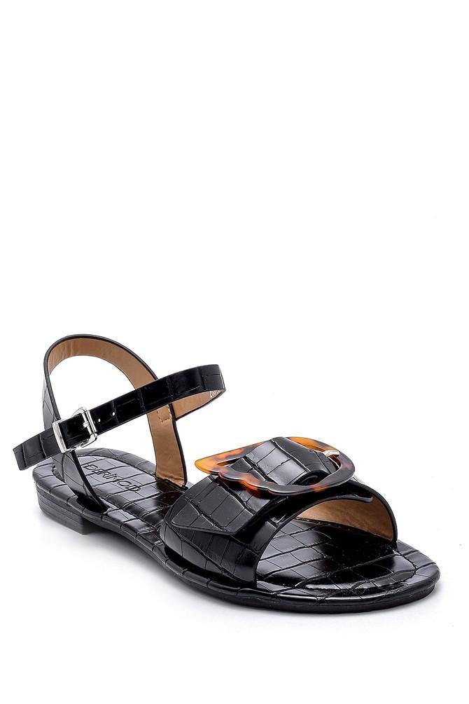 5638132403 Kadın Kroko Desenli Sandalet