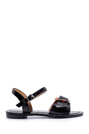 Siyah Kadın Kroko Desenli Sandalet 5638132387