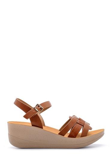 Kahverengi Kadın Kroko Desenli Sandalet 5638132553