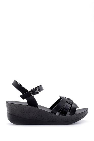 Siyah Kadın Kroko Desenli Sandalet 5638132567