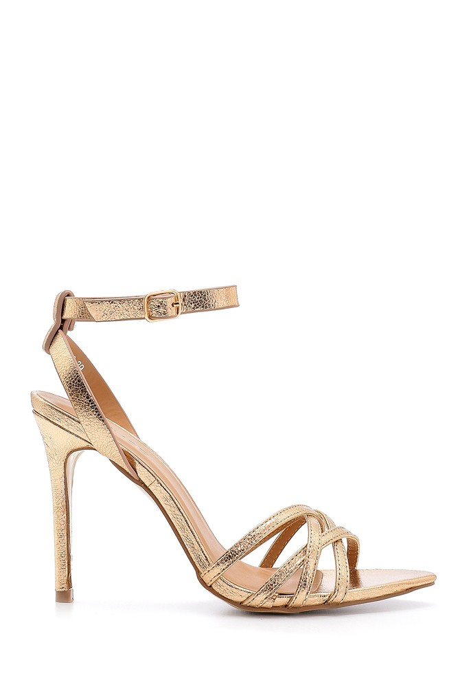 Pembe Kadın Metalik Topuklu Ayakkabı 5638133839