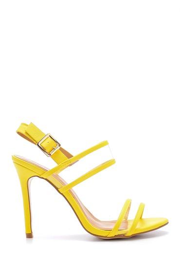 Sarı Kadın Şeffaf Bantlı Topuklu Sandalet 5638133862