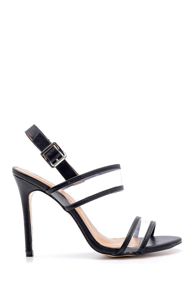 Siyah Kadın Şeffaf Bantlı Topuklu Sandalet 5638133860