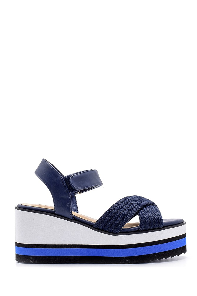 Lacivert Kadın Dolgu Topuklu Sandalet 5638143115